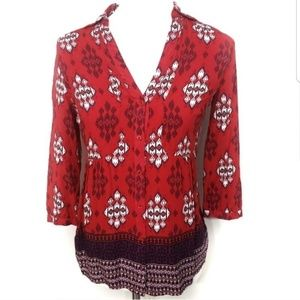 Maeve Woodland Boho Patterened Button Down Blouse